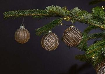 MC 12er Set edle Luxus Glas Weihnachtskugeln Ø 8cm Weihnachtsbaum Kugeln Christbaumkugeln Weihnachts Deko (Braun Silber) - 4