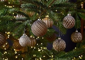 MC 12er Set edle Luxus Glas Weihnachtskugeln Ø 8cm Weihnachtsbaum Kugeln Christbaumkugeln Weihnachts Deko (Braun Silber) - 5