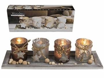MC Trend 4 Glas Teelichthalter Holz Tablett Tannenbaum Sterndeko Kerzenhalter Advent Weihnachten Wohnaccessoires Tischdeko ca. 40 x 15 cm - 1