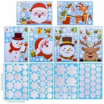 MELLIEX Fensterbilder Weihnachten, Weihnachtsdeko Fensteraufkleber PVC Fensterdeko Fenstersticker Selbstklebend Fensterfolie für Türen Schaufenster Vitrinen Glasfronten Deko - 2