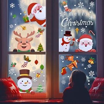 MELLIEX Fensterbilder Weihnachten, Weihnachtsdeko Fensteraufkleber PVC Fensterdeko Fenstersticker Selbstklebend Fensterfolie für Türen Schaufenster Vitrinen Glasfronten Deko - 3