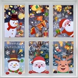 MELLIEX Fensterbilder Weihnachten, Weihnachtsdeko Fensteraufkleber PVC Fensterdeko Fenstersticker Selbstklebend Fensterfolie für Türen Schaufenster Vitrinen Glasfronten Deko - 1