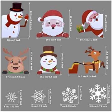 MELLIEX Fensterbilder Weihnachten, Weihnachtsdeko Fensteraufkleber PVC Fensterdeko Fenstersticker Selbstklebend Fensterfolie für Türen Schaufenster Vitrinen Glasfronten Deko - 6