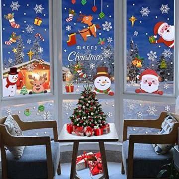 MELLIEX Fensterbilder Weihnachten, Weihnachtsdeko Fensteraufkleber PVC Fensterdeko Fenstersticker Selbstklebend Fensterfolie für Türen Schaufenster Vitrinen Glasfronten Deko - 7