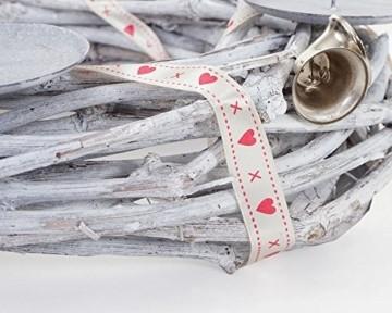 Mendler Adventskranz rund, Weihnachtsdeko Tischkranz, Holz Ø 30cm weiß-grau ~ mit Kerzen, rot - 2