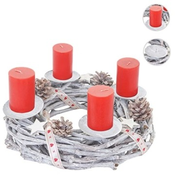 Mendler Adventskranz rund, Weihnachtsdeko Tischkranz, Holz Ø 30cm weiß-grau ~ mit Kerzen, rot - 3