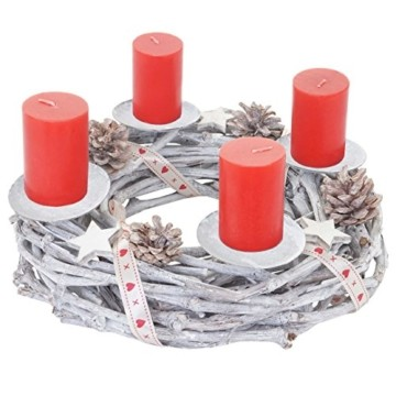Mendler Adventskranz rund, Weihnachtsdeko Tischkranz, Holz Ø 30cm weiß-grau ~ mit Kerzen, rot - 1