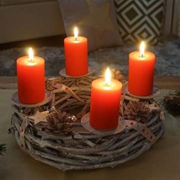 Mendler Adventskranz rund, Weihnachtsdeko Tischkranz, Holz Ø 30cm weiß-grau ~ mit Kerzen, rot - 5