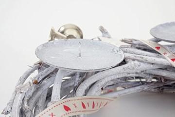 Mendler Adventskranz rund, Weihnachtsdeko Tischkranz, Holz Ø 30cm weiß-grau ~ mit Kerzen, rot - 6