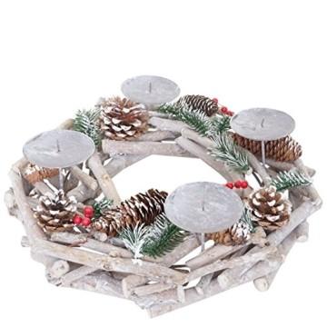 Mendler Adventskranz rund, Weihnachtsdeko Tischkranz, Holz Ø 35cm weiß-grau ~ ohne Kerzen - 2