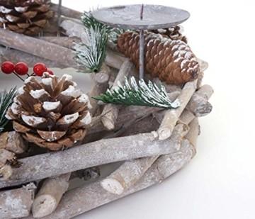 Mendler Adventskranz rund, Weihnachtsdeko Tischkranz, Holz Ø 35cm weiß-grau ~ ohne Kerzen - 3