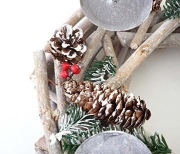 Mendler Adventskranz rund, Weihnachtsdeko Tischkranz, Holz Ø 35cm weiß-grau ~ ohne Kerzen - 4