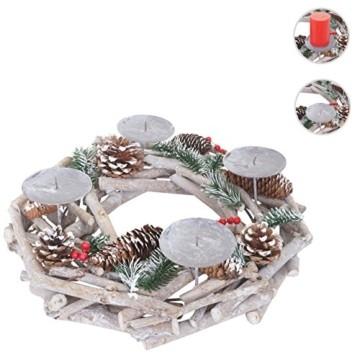 Mendler Adventskranz rund, Weihnachtsdeko Tischkranz, Holz Ø 35cm weiß-grau ~ ohne Kerzen - 5