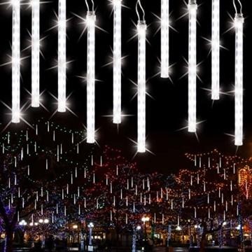 Meteorschauer Regen Lichter, BrizLabs 240 LED Außen Eiszapfen Regenlichter Fallende Weihnachtsbeleuchtung Wasserdicht für Xmas Baum Party Garten Hochzeit Urlaub Dekoration, 30cm 10 Tubes, Kaltes Weiß - 1
