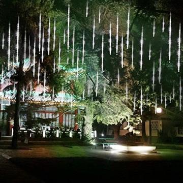 Meteorschauer Regen Lichter, BrizLabs 240 LED Außen Eiszapfen Regenlichter Fallende Weihnachtsbeleuchtung Wasserdicht für Xmas Baum Party Garten Hochzeit Urlaub Dekoration, 30cm 10 Tubes, Kaltes Weiß - 5
