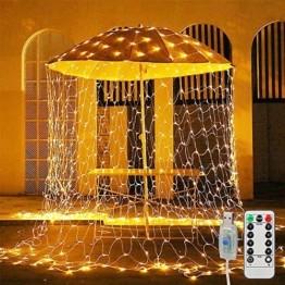 MGRETT LED Lichternetz 3x2M 200 LEDs Lichterkette Außen Lichterkette Netz mit Fernbedienung & Timer 8 Modi Lichternetz Innen und Außen Warmweiß für Weihnachten Party Halloween Hochzeit Garten Zimmer - 1