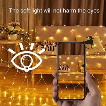 MGRETT LED Lichternetz 3x2M 200 LEDs Lichterkette Außen Lichterkette Netz mit Fernbedienung & Timer 8 Modi Lichternetz Innen und Außen Warmweiß für Weihnachten Party Halloween Hochzeit Garten Zimmer - 4