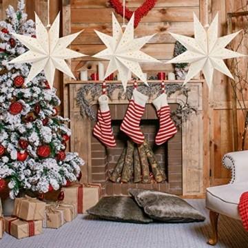 Mobestech 3St. 35CM LED Weihnachtsstern Lampe Papier Lampenschirm 3D Außenstern Papierstern Laterne für Weihnachten Silvester Hochzeit Party Hängende Dekoration Ornament Fensterdeko Weiß - 2