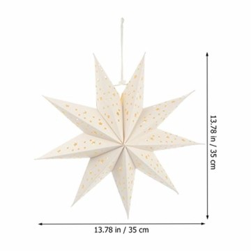 Mobestech 3St. 35CM LED Weihnachtsstern Lampe Papier Lampenschirm 3D Außenstern Papierstern Laterne für Weihnachten Silvester Hochzeit Party Hängende Dekoration Ornament Fensterdeko Weiß - 4