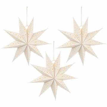 Mobestech 3St. 35CM LED Weihnachtsstern Lampe Papier Lampenschirm 3D Außenstern Papierstern Laterne für Weihnachten Silvester Hochzeit Party Hängende Dekoration Ornament Fensterdeko Weiß - 1