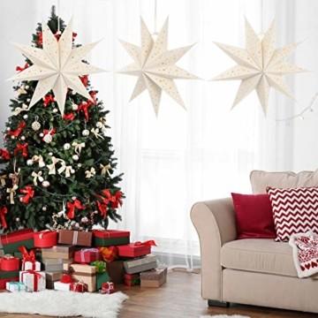 Mobestech 3St. 35CM LED Weihnachtsstern Lampe Papier Lampenschirm 3D Außenstern Papierstern Laterne für Weihnachten Silvester Hochzeit Party Hängende Dekoration Ornament Fensterdeko Weiß - 5