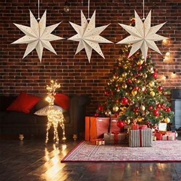 Mobestech 3St. 35CM LED Weihnachtsstern Lampe Papier Lampenschirm 3D Außenstern Papierstern Laterne für Weihnachten Silvester Hochzeit Party Hängende Dekoration Ornament Fensterdeko Weiß - 6