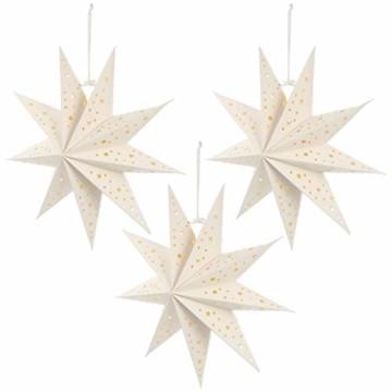Mobestech 3St. 35CM LED Weihnachtsstern Lampe Papier Lampenschirm 3D Außenstern Papierstern Laterne für Weihnachten Silvester Hochzeit Party Hängende Dekoration Ornament Fensterdeko Weiß - 8