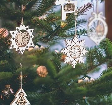 Mocraft 20 Stücke Weihnachtsbaumschmuck aus Holz,Christbaumschmuck Hängen mit Schnur für Weihnachtsdekoration Handwerk,Weihnachten Verzierung - 2