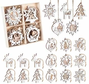 Mocraft 20 Stücke Weihnachtsbaumschmuck aus Holz,Christbaumschmuck Hängen mit Schnur für Weihnachtsdekoration Handwerk,Weihnachten Verzierung - 3
