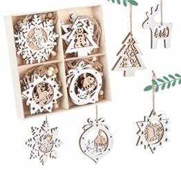 Mocraft 20 Stücke Weihnachtsbaumschmuck aus Holz,Christbaumschmuck Hängen mit Schnur für Weihnachtsdekoration Handwerk,Weihnachten Verzierung - 1