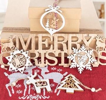 Mocraft 20 Stücke Weihnachtsbaumschmuck aus Holz,Christbaumschmuck Hängen mit Schnur für Weihnachtsdekoration Handwerk,Weihnachten Verzierung - 4
