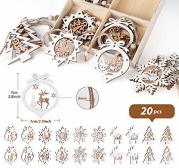 Mocraft 20 Stücke Weihnachtsbaumschmuck aus Holz,Christbaumschmuck Hängen mit Schnur für Weihnachtsdekoration Handwerk,Weihnachten Verzierung - 5