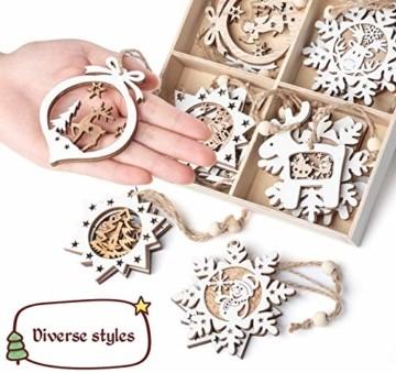 Mocraft 20 Stücke Weihnachtsbaumschmuck aus Holz,Christbaumschmuck Hängen mit Schnur für Weihnachtsdekoration Handwerk,Weihnachten Verzierung - 6