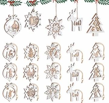 Mocraft 20 Stücke Weihnachtsbaumschmuck aus Holz,Christbaumschmuck Hängen mit Schnur für Weihnachtsdekoration Handwerk,Weihnachten Verzierung - 7