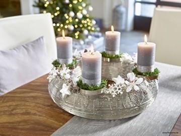 Moderner Metallkranz - D30cm / H13cm - Silber - Adventskranz aus Edelstahl für 4 Kerzen - Hochwertige Weihnachtsdeko - 2