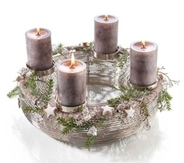 Moderner Metallkranz - D30cm / H13cm - Silber - Adventskranz aus Edelstahl für 4 Kerzen - Hochwertige Weihnachtsdeko - 1