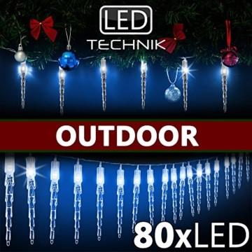 Monzana 80 LED Lichterkette Eiszapfen Blau Innen & Außen Länge 13m Weihnachten Beleuchtung Weihnachtsdeko Outdoor - 5
