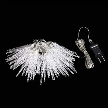 Monzana 80 LED Lichterkette Eiszapfen Kaltweiß Innen & Außen Länge 13m Weihnachten Beleuchtung Weihnachtsdeko Outdoor - 4