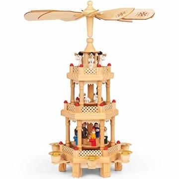 Monzana Weihnachtspyramide 3-stöckig drehbar Holzpyramide aus Echtholz Weihnachtsdekoration handbemalt Weihnachten - 1