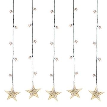 Multistore 2002 LED Sternenvorhang 105x100cm mit 100 LED-Lichter warmweiß weihnachtlicher Lichtervorhang Weihnachtsdekoration Dekoleuchte Dekolicht Lichterkette Stern - 2