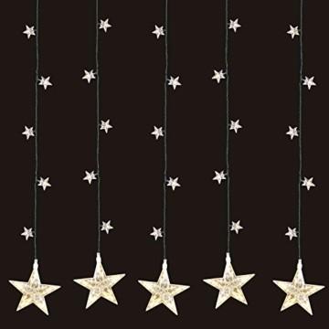Multistore 2002 LED Sternenvorhang 105x100cm mit 100 LED-Lichter warmweiß weihnachtlicher Lichtervorhang Weihnachtsdekoration Dekoleuchte Dekolicht Lichterkette Stern - 1