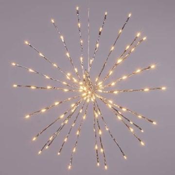 Nipach GmbH 120 LED Meteor Stern Leuchtfarbe warm weiß Ø 60 cm für Innen und Außen mit Trafo Timer Weihnachtsstern zum Aufhängen Weihnachtsdeko Xmas - 5