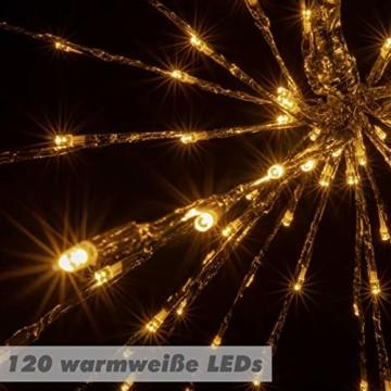 Nipach GmbH 120 LED Meteor Stern Leuchtfarbe warm weiß Ø 60 cm für Innen und Außen mit Trafo Timer Weihnachtsstern zum Aufhängen Weihnachtsdeko Xmas - 6