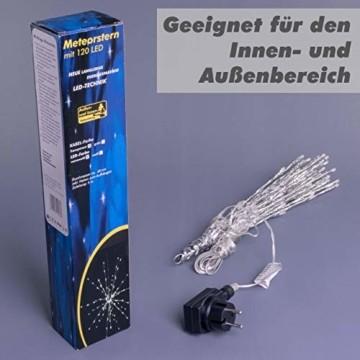 Nipach GmbH 120 LED Meteor Stern Leuchtfarbe warm weiß Ø 60 cm für Innen und Außen mit Trafo Timer Weihnachtsstern zum Aufhängen Weihnachtsdeko Xmas - 7