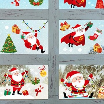 O-Kinee Weihnachten Fensterdeko,Fensterbilder Weihnachten Selbstklebend, Fensteraufkleber Weihnachten,Winter-Deko Schneeflocken Fensterbild, Statisch Haftende Weihnachtsmann Süße Elche Fensterbilder - 2