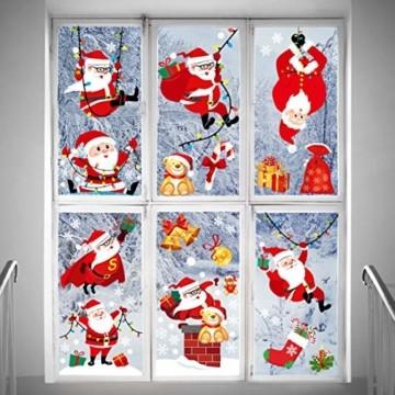 O-Kinee Weihnachten Fensterdeko,Fensterbilder Weihnachten Selbstklebend, Fensteraufkleber Weihnachten,Winter-Deko Schneeflocken Fensterbild, Statisch Haftende Weihnachtsmann Süße Elche Fensterbilder - 3