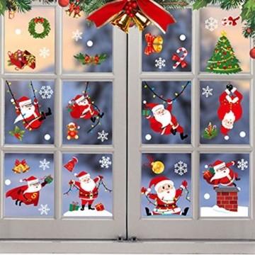 O-Kinee Weihnachten Fensterdeko,Fensterbilder Weihnachten Selbstklebend, Fensteraufkleber Weihnachten,Winter-Deko Schneeflocken Fensterbild, Statisch Haftende Weihnachtsmann Süße Elche Fensterbilder - 4