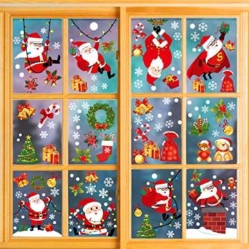 O-Kinee Weihnachten Fensterdeko,Fensterbilder Weihnachten Selbstklebend, Fensteraufkleber Weihnachten,Winter-Deko Schneeflocken Fensterbild, Statisch Haftende Weihnachtsmann Süße Elche Fensterbilder - 1