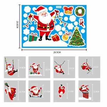 O-Kinee Weihnachten Fensterdeko,Fensterbilder Weihnachten Selbstklebend, Fensteraufkleber Weihnachten,Winter-Deko Schneeflocken Fensterbild, Statisch Haftende Weihnachtsmann Süße Elche Fensterbilder - 5