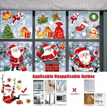 O-Kinee Weihnachten Fensterdeko,Fensterbilder Weihnachten Selbstklebend, Fensteraufkleber Weihnachten,Winter-Deko Schneeflocken Fensterbild, Statisch Haftende Weihnachtsmann Süße Elche Fensterbilder - 6